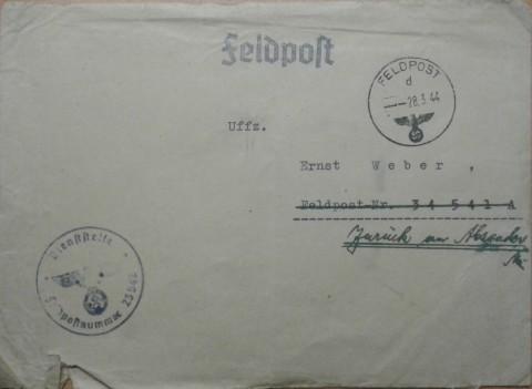Briefumschlag mit Feldostnummern 23542 34541