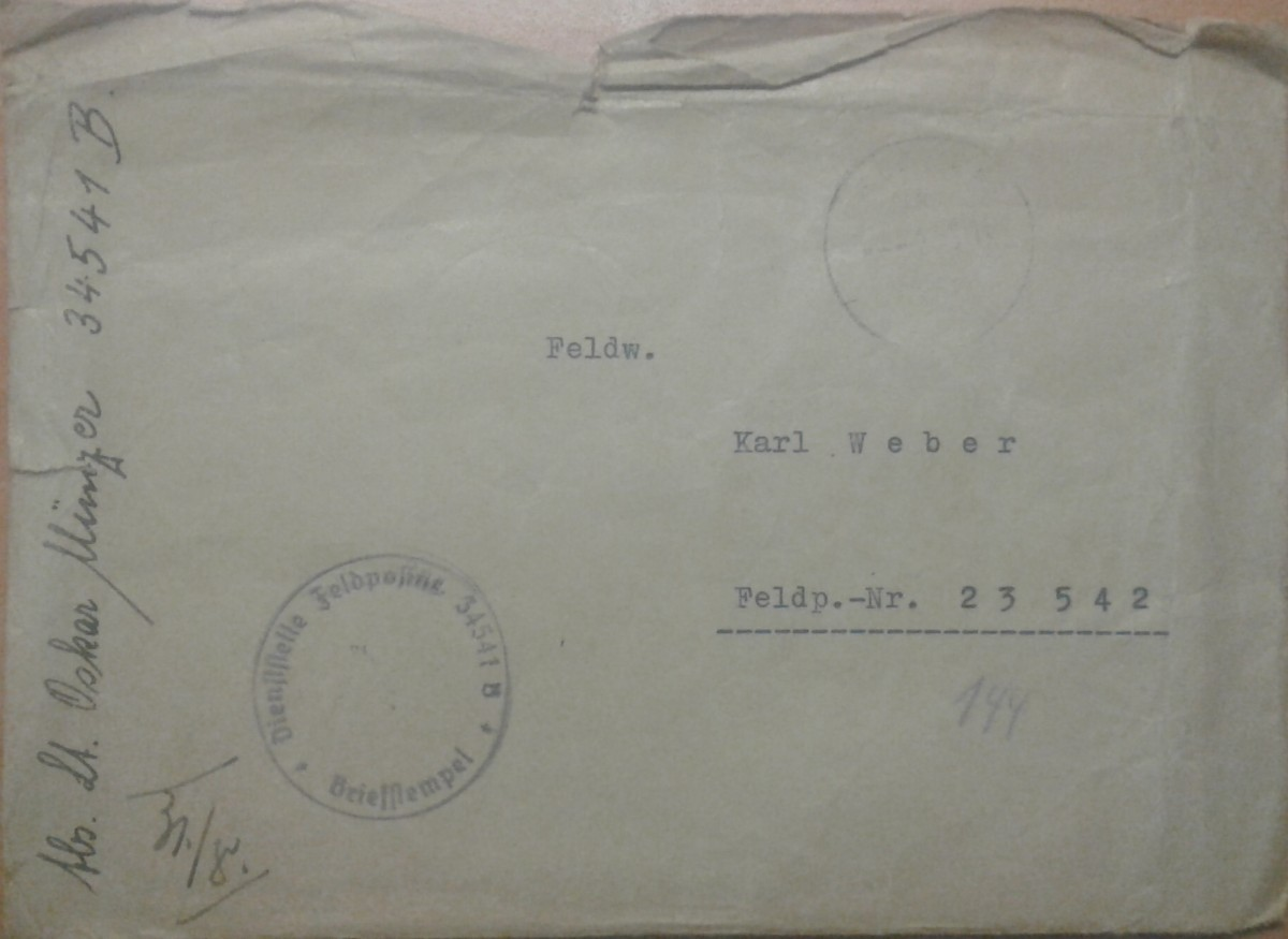 Briefumschlag mit Feldpostnummern 23542 34541