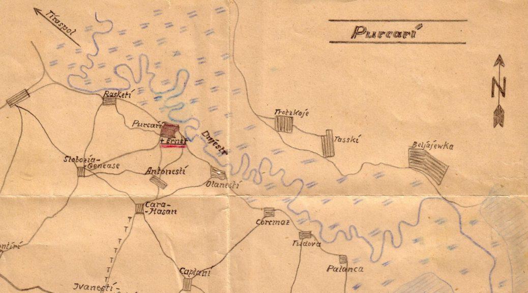 Karte mit letzter Ruhestätte von Ernst Weber, welcher am 29.04.1944 in Purkari am Dnjestr gefallen ist.