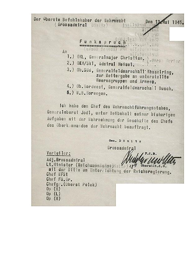 Dönitz: Jodl nimmt Geschäfte des Oberkommandos der Wehrmacht wahr